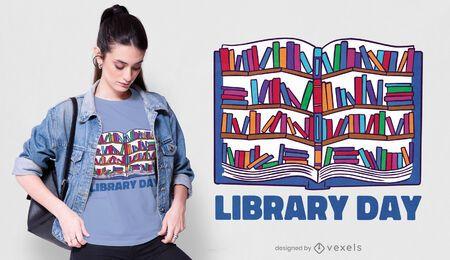 Design de camiseta para o dia da biblioteca