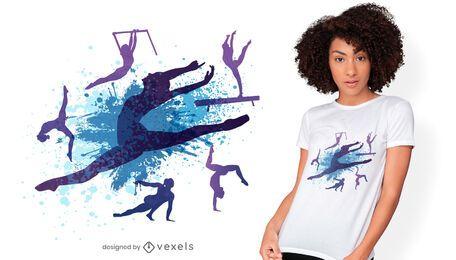 Diseño de camiseta de siluetas de gimnasta.