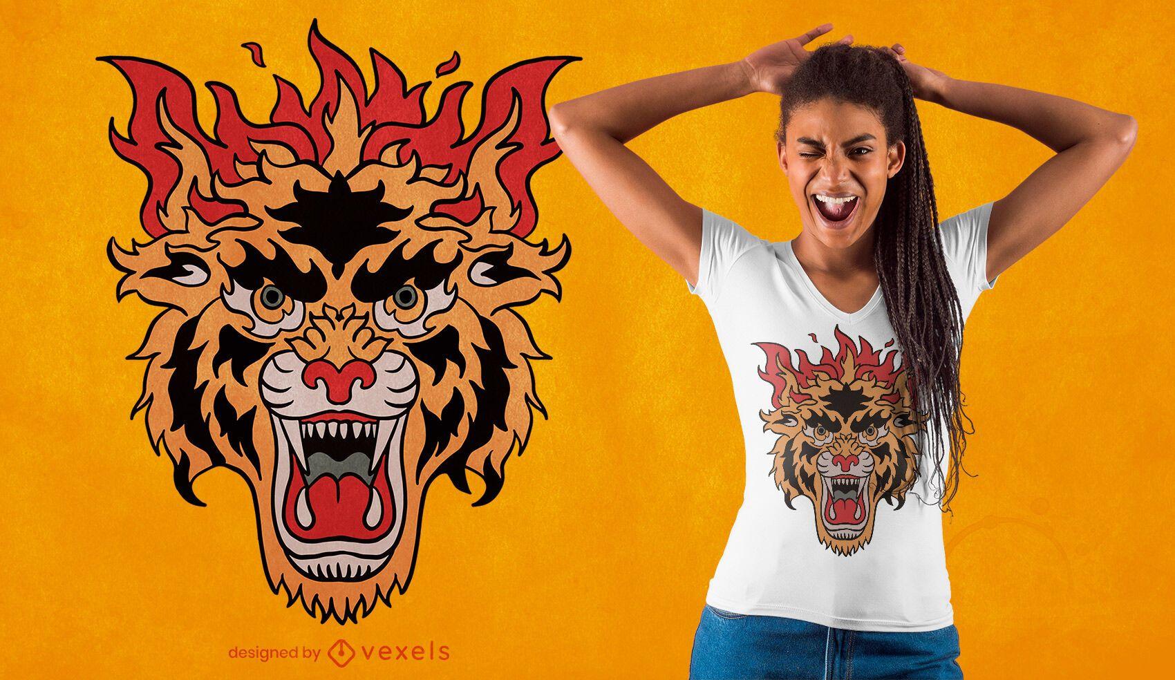 Diseño de camiseta de tatuaje de tigre