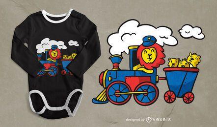 Design de t-shirt de Leão a conduzir