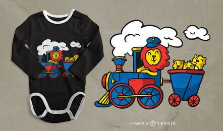 Lion driving train t-shirt design