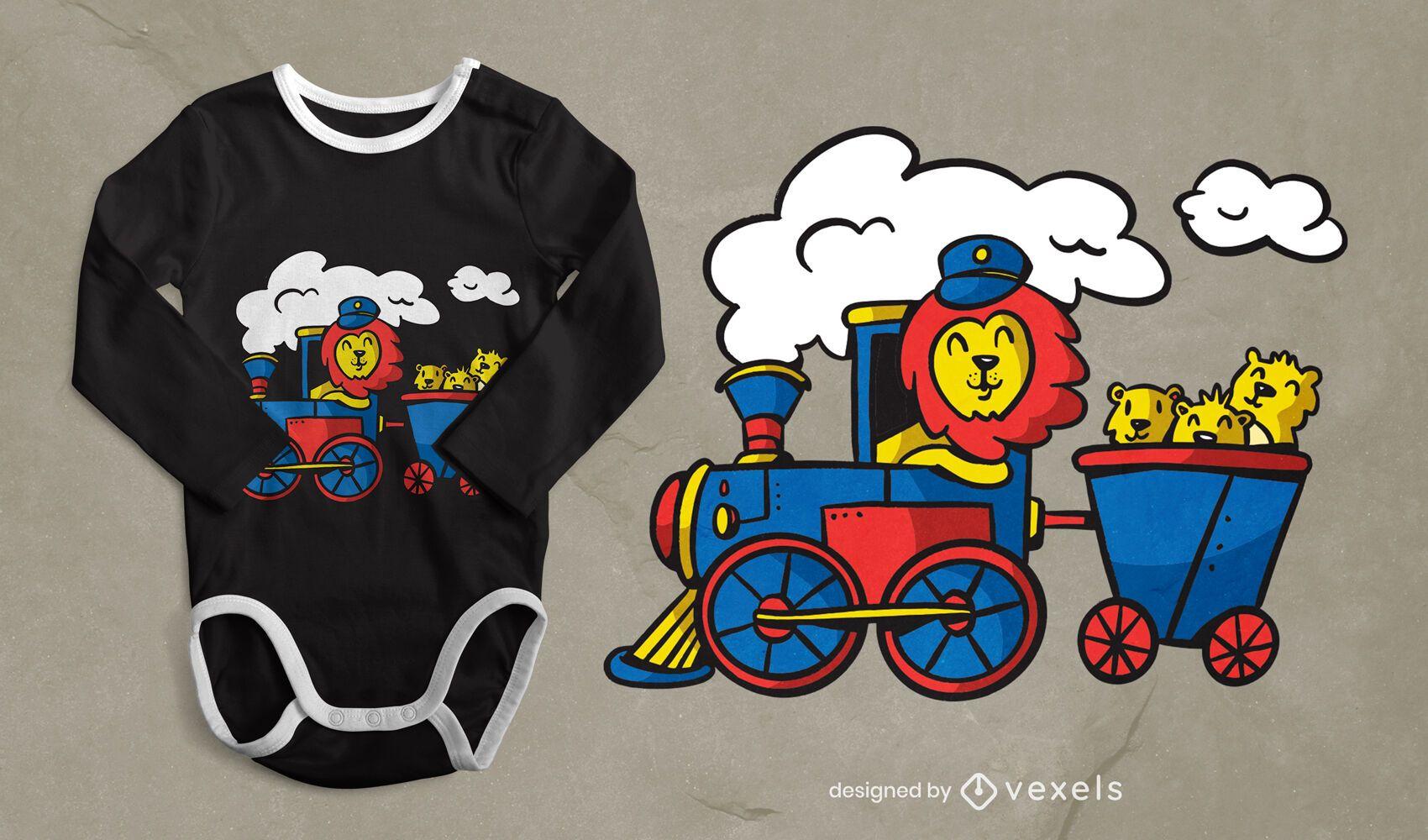 Diseño de camiseta de tren de conducción de león.