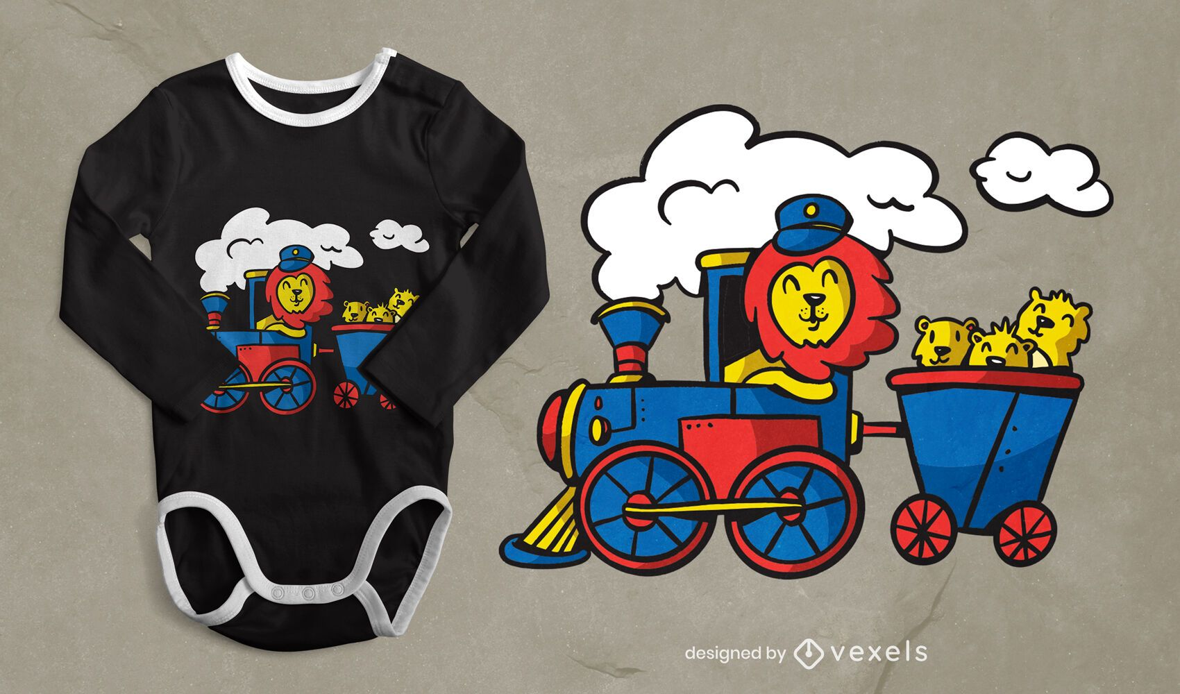 Lion driving train t-shirt design
