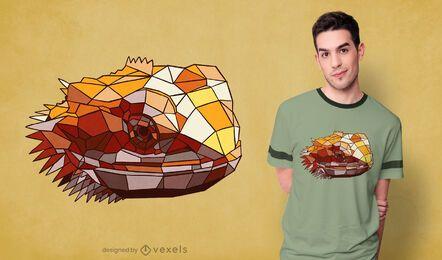 Design de camiseta com dragão barbudo poligonal