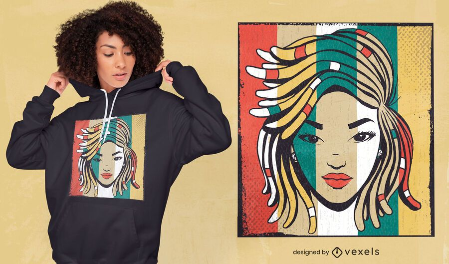 Girl with dreadlocks colorful t-shirt design