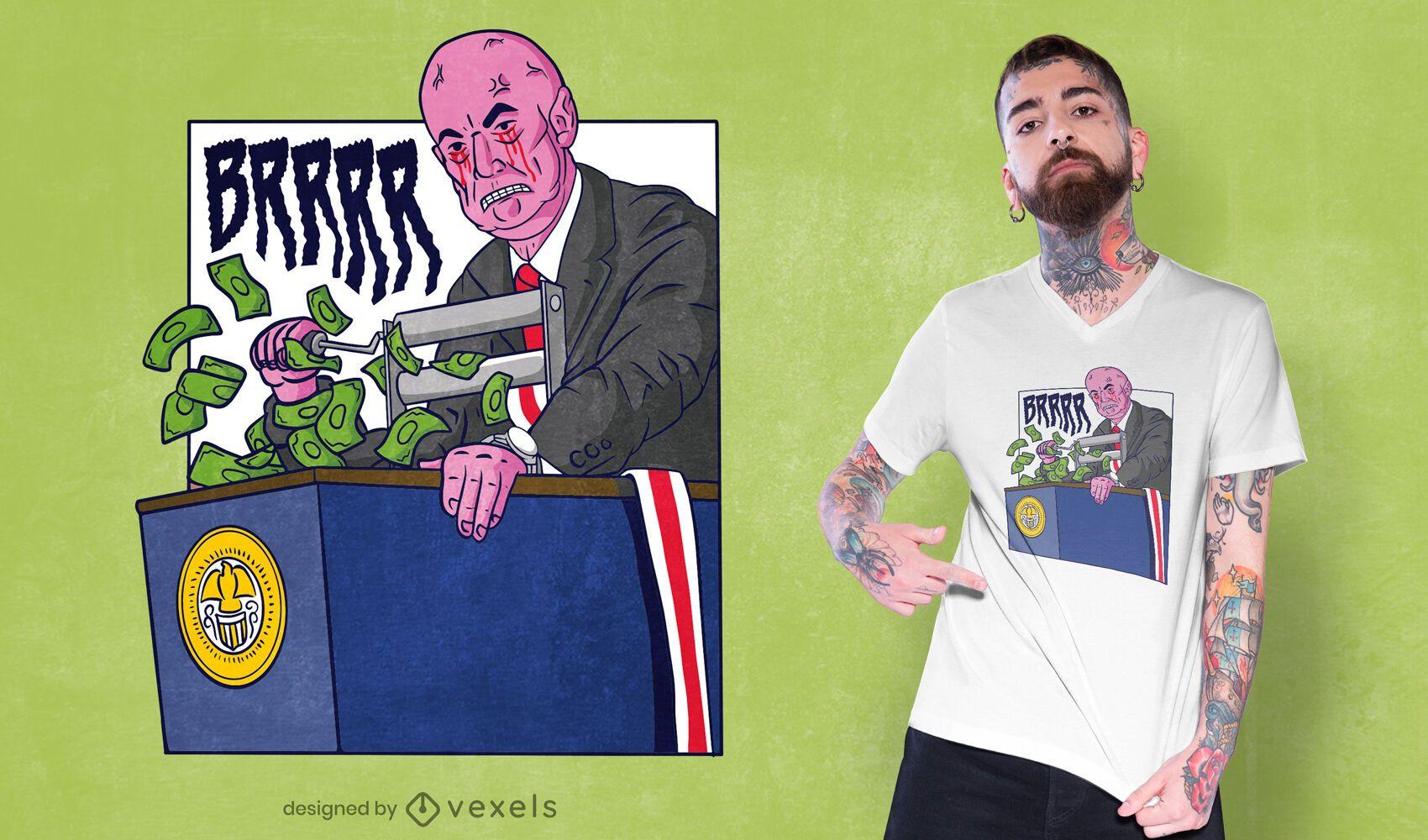Money printer brr meme diseño de camiseta