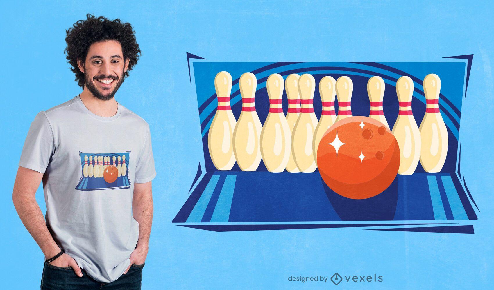 Bolos y diseño de camiseta de bola.