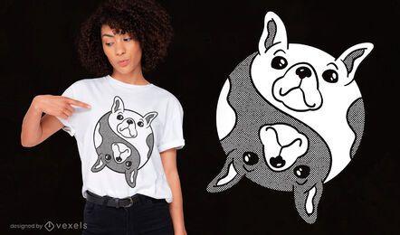 Diseño de camiseta de perro bulldog yin yang