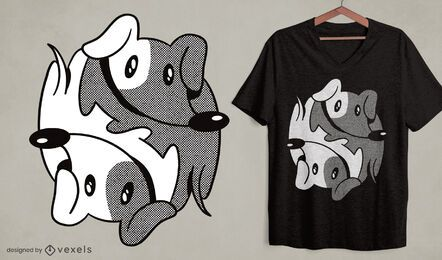 Dachshund yin yang dog t-shirt design