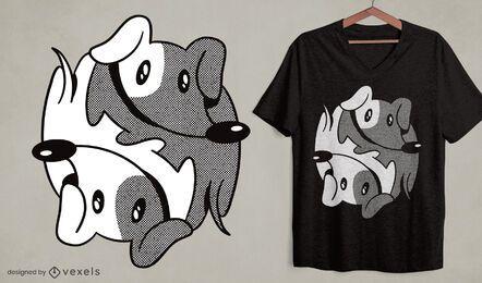 Design de camiseta para cachorro Dachshund yin yang