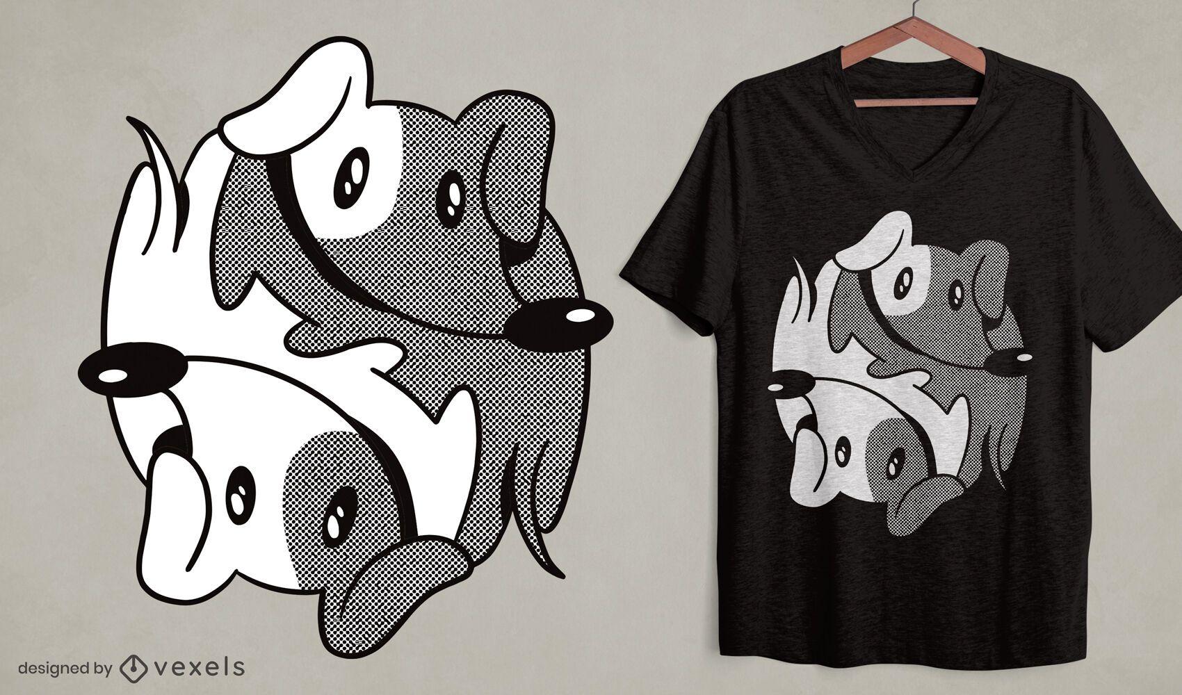 Dachshund yin yang dog t-shirt design