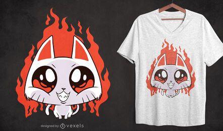 Diseño de camiseta de dibujos animados de gatito malvado