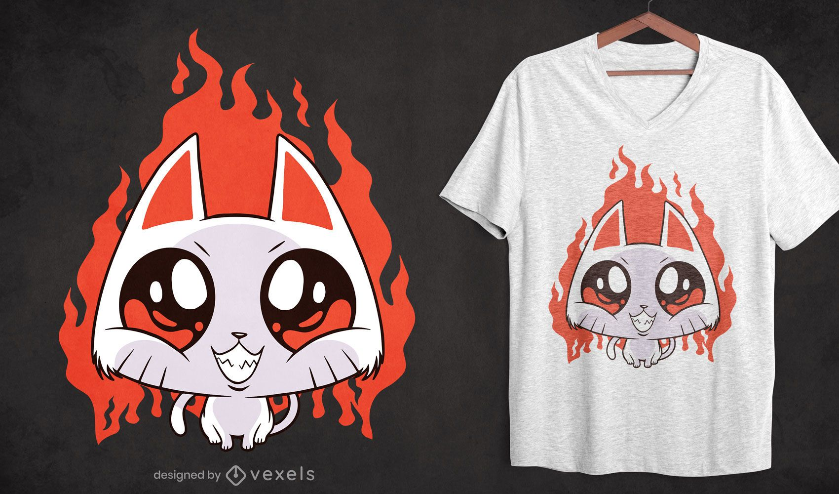 Evil kitten cartoon t-shirt design