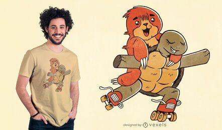 Diseño de camiseta de patinaje sobre ruedas de perezosos y tortugas.