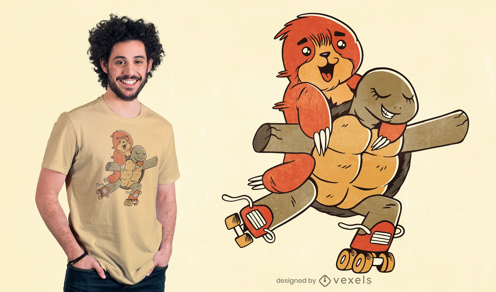 Sloth and turtle roller skating t-shirt design