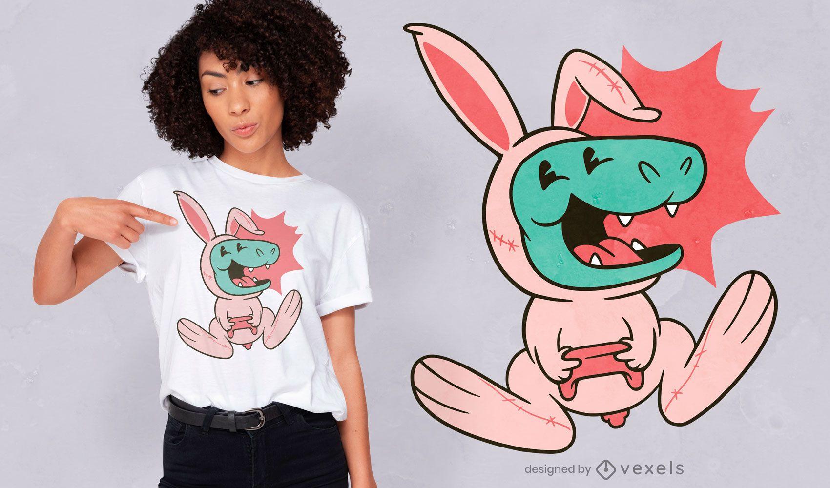 Diseño de camiseta Dino Bunny
