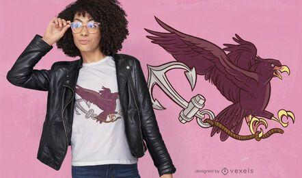Águila volando con diseño de camiseta de ancla