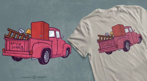 Pickup truck antiquing t-shirt design