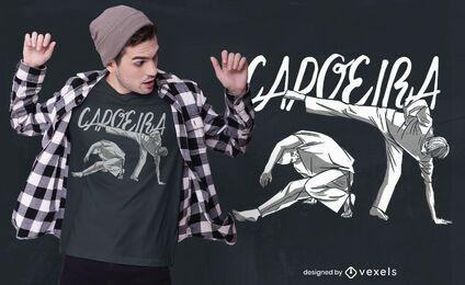Diseño de camiseta de cita de baile de capoeira