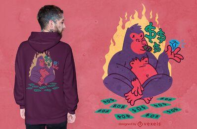 Diseño de camiseta de personaje de gorila rico.
