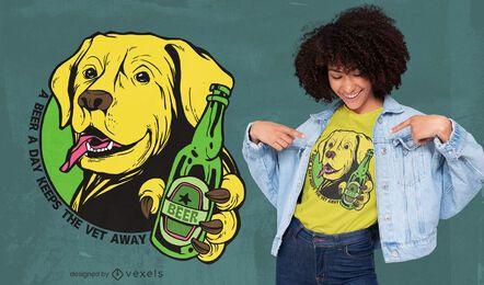 Cachorro bebendo cerveja desenho de camiseta com citações