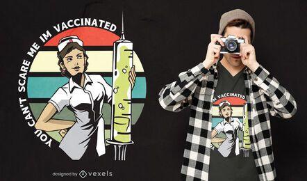 Design de camiseta com citações de enfermeira vacinada