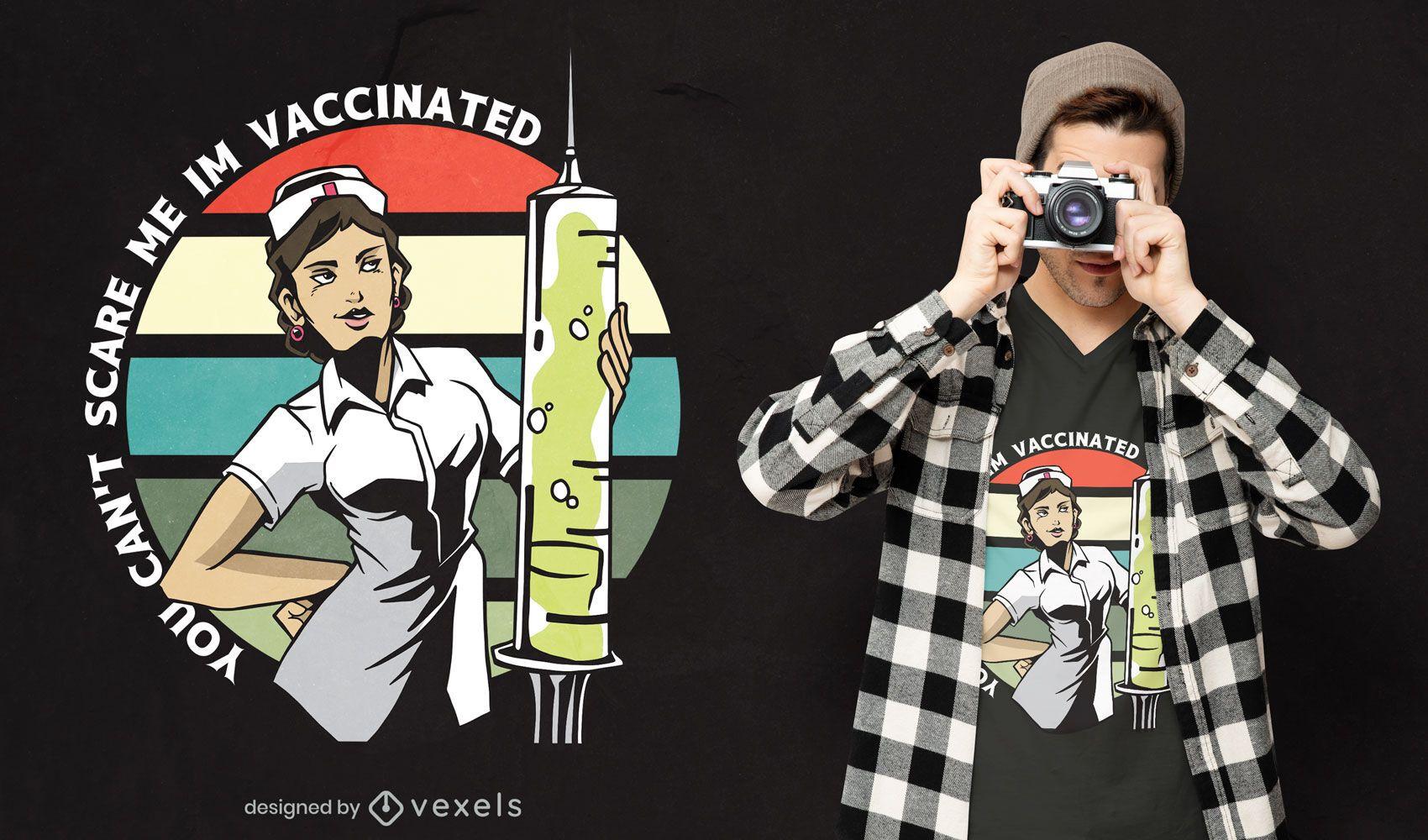 Diseño de camiseta de cita de enfermera vacunada.