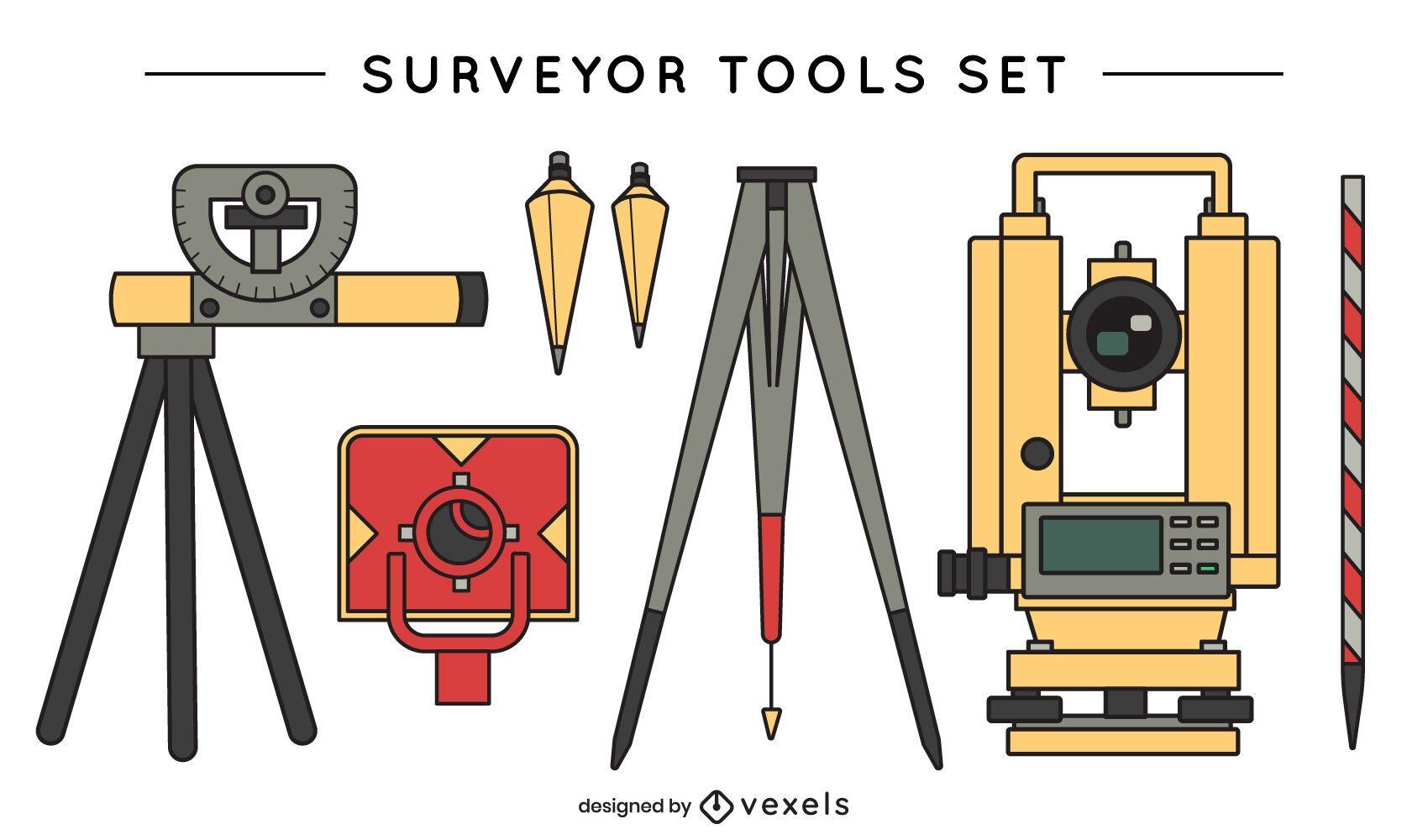 Conjunto de vectores de herramientas de topógrafo