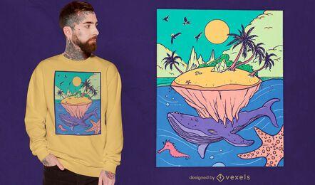 Whale island fantasy landscape t-shirt design