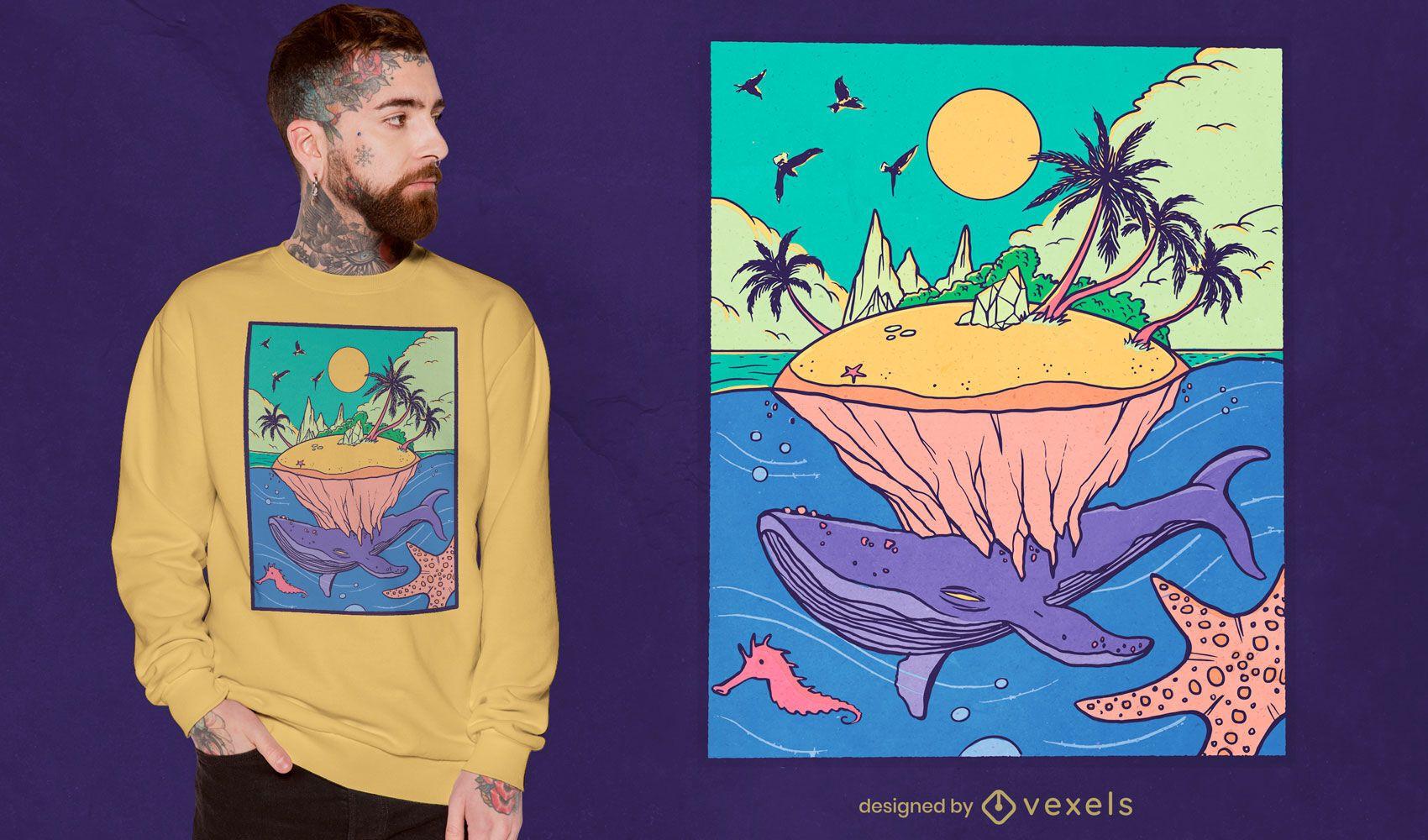 Diseño de camiseta de paisaje de fantasía de isla ballena.