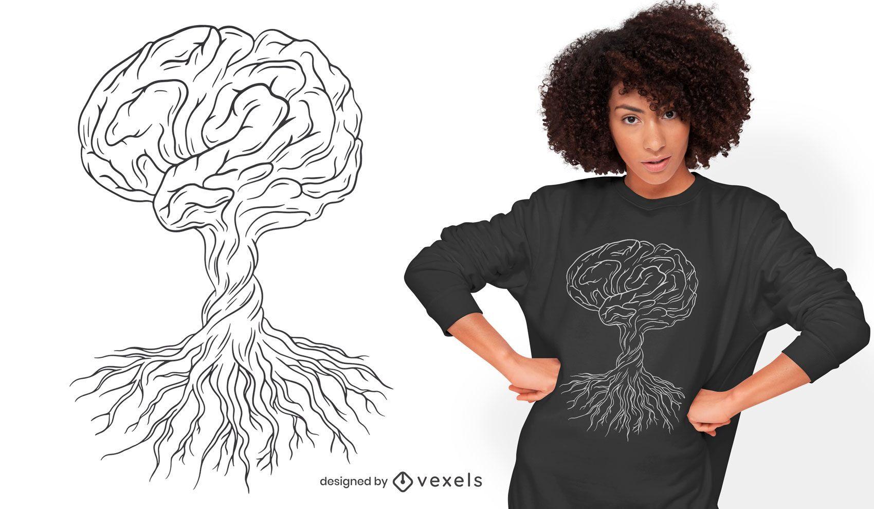 Design de t-shirt desenhada à mão para árvore do cérebro
