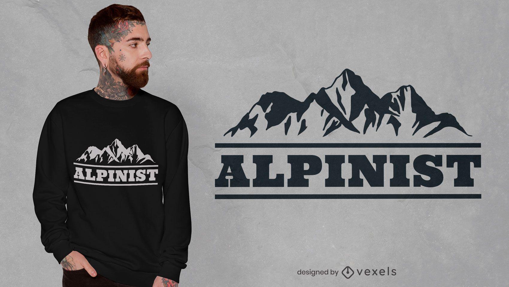 Design de camiseta com citações de alpinista da montanha