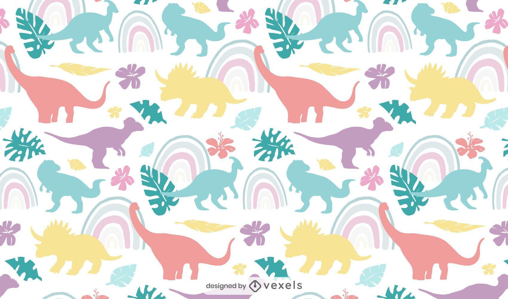 Patrón sin fisuras de dinosaurios lindos