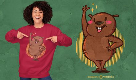 Cute wombat raising hand t-shirt design