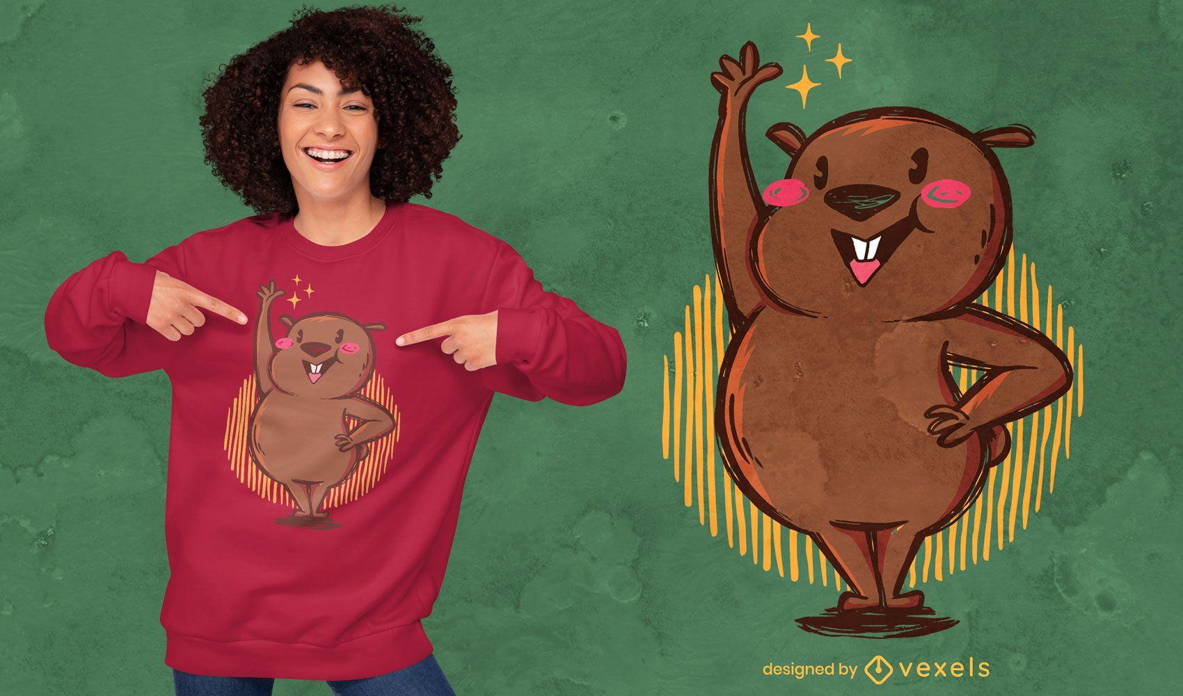 Cute wombat raising hand t-shirt design