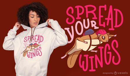 Design de t-shirt com aspas do esquilo voador