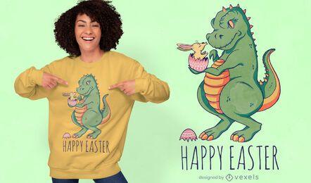 Diseño de camiseta con cita de huevo de Pascua de dinosaurio