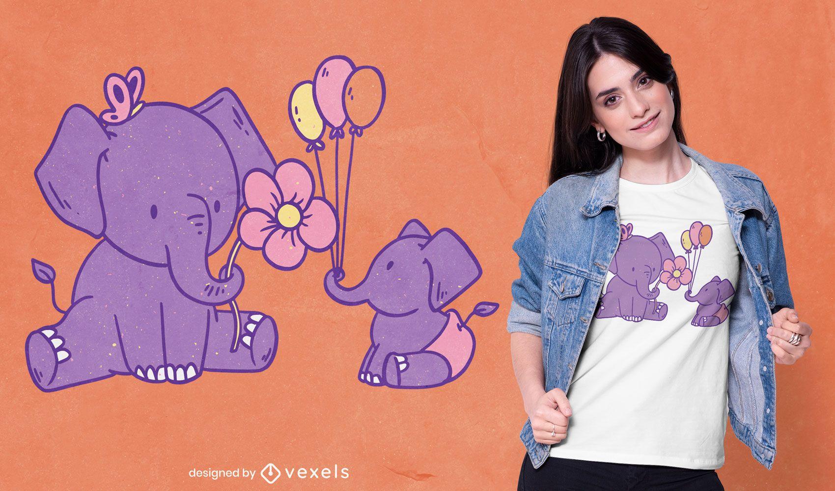 Design de t-shirt de dois elefantes fofos