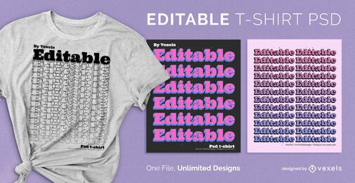 Repetition text scalable t-shirt psd