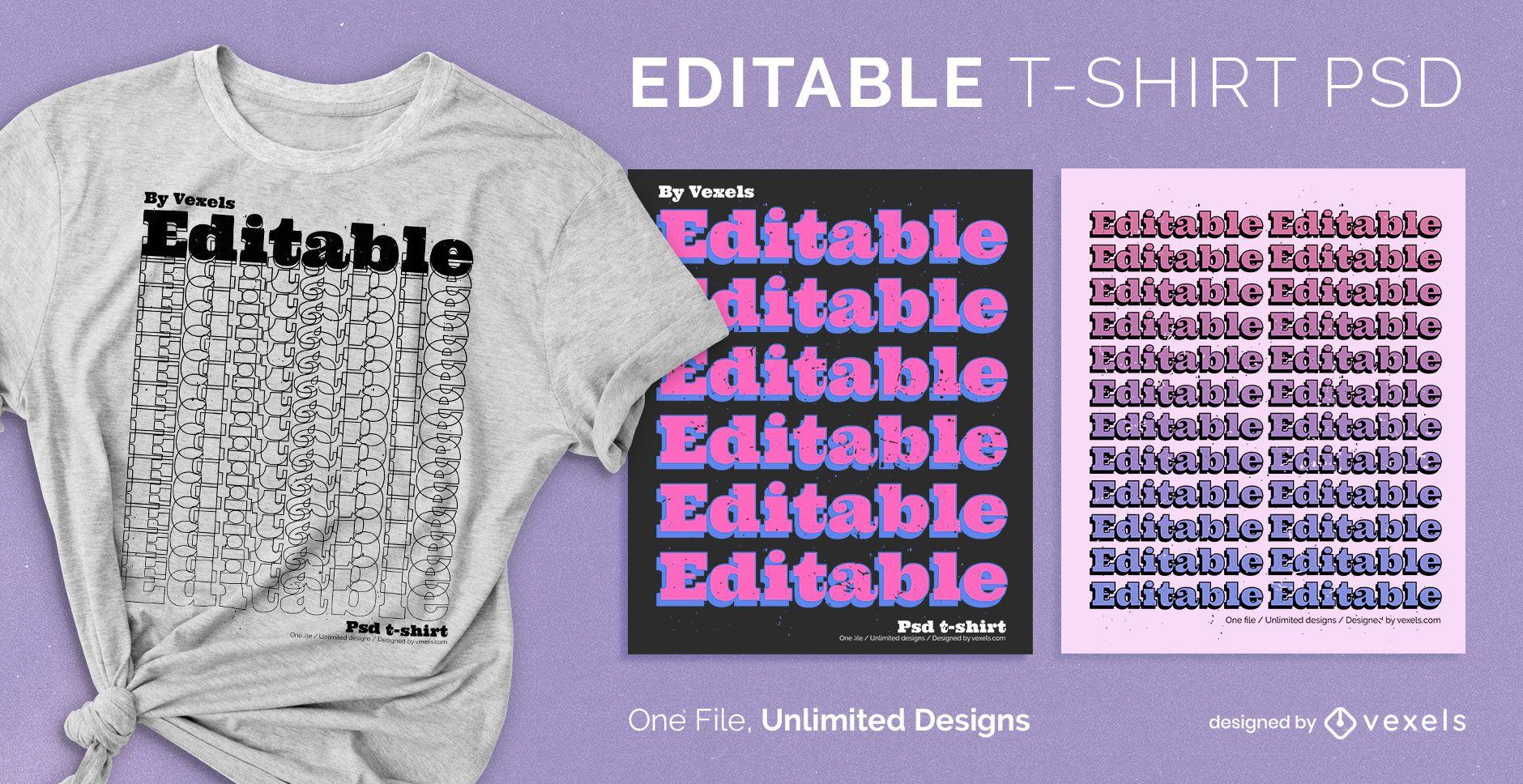 Wiederholungstext skalierbares T-Shirt psd