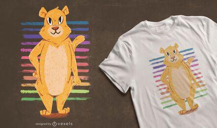 Design de camiseta de leoa em pé