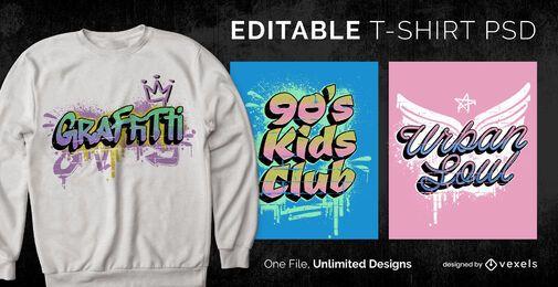 90s graffiti scalable t-shirt psd