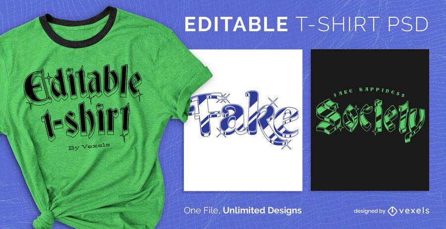 T-shirt PSD escalável com texto 3D brilhante