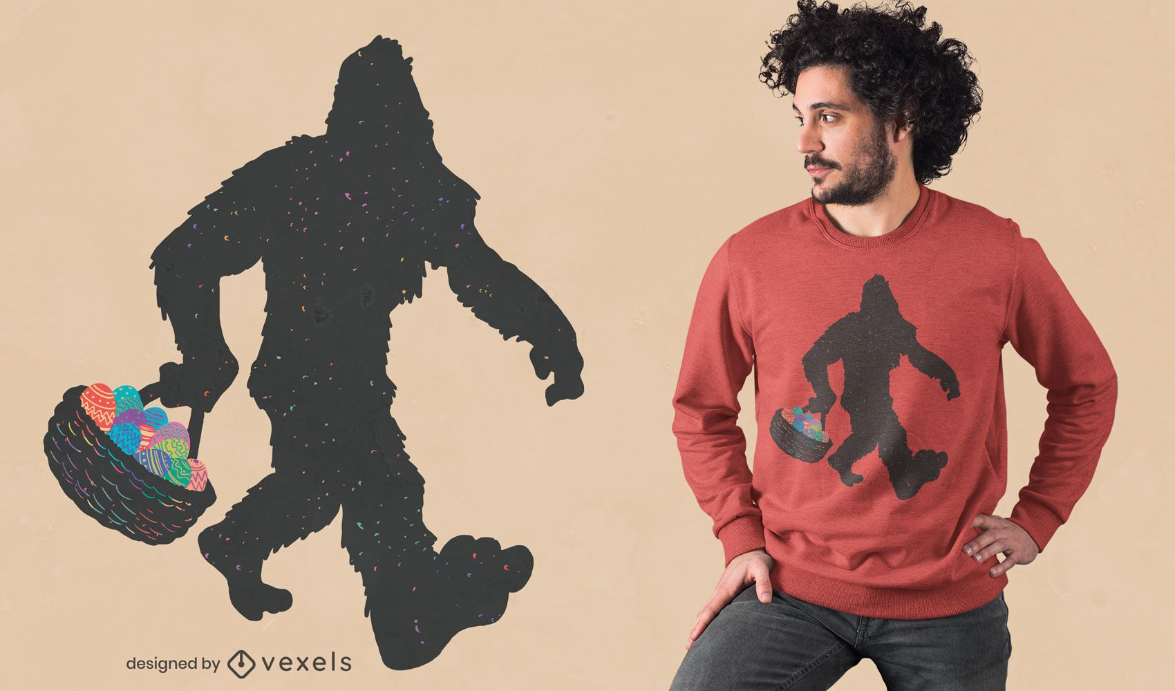 Bigfoot with Easter eggs t-shirt design