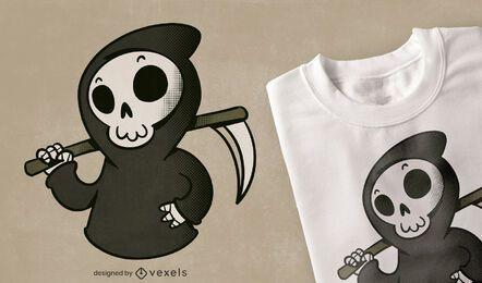 Design fofo de t-shirt de desenho animado do Grim Reaper