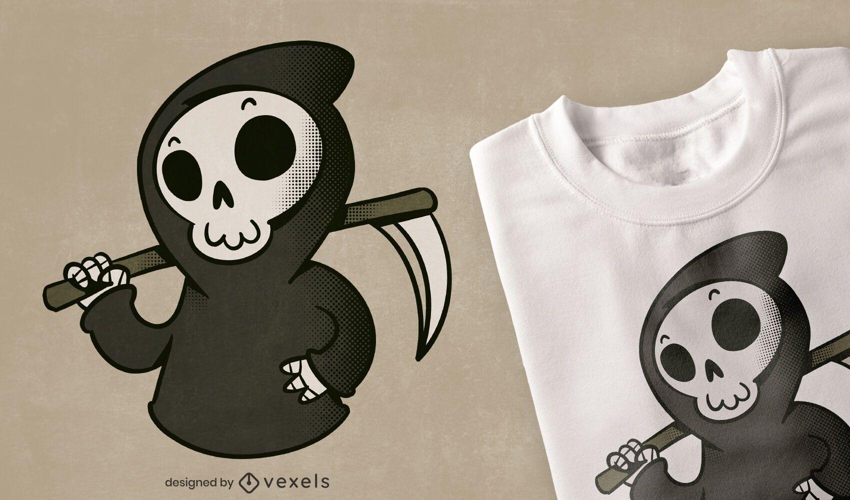 Lindo diseño de camiseta de dibujos animados de Grim Reaper