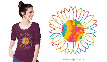 Desenho de t-shirt com girassol tie dye