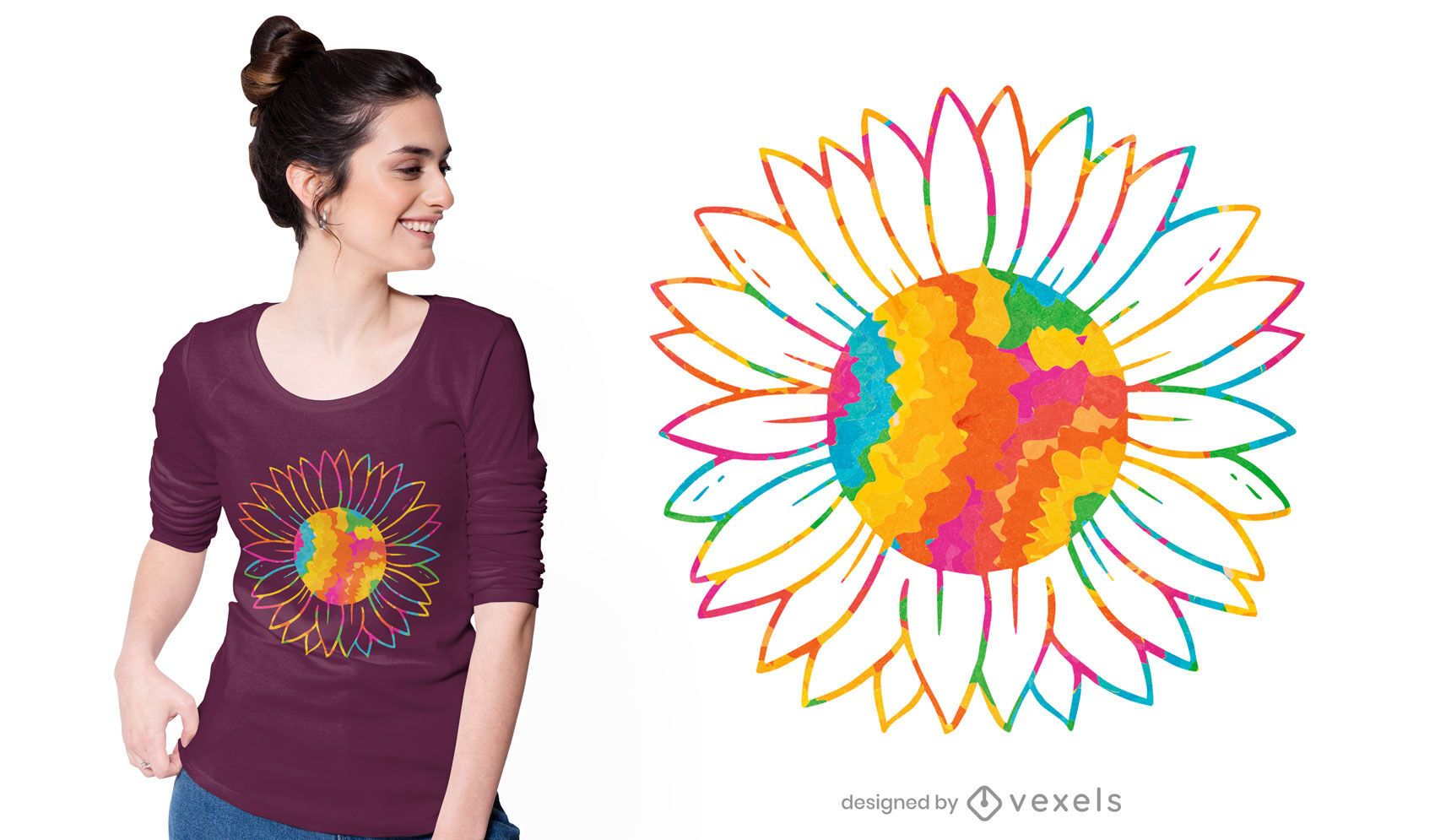 Krawatten-Sonnenblumen-T-Shirt-Design