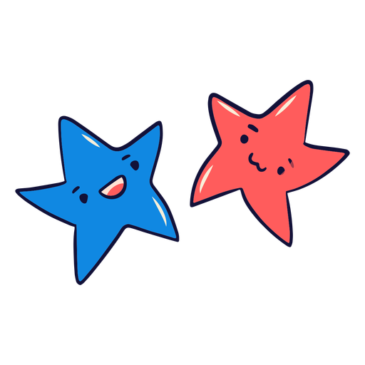 Blue and red stars cute