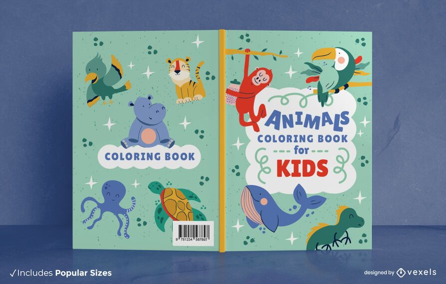 Animals kids coloring book cover design